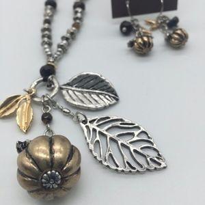 J.Jill Set:Pumpkin/Leaf Charms Necklace & Earrings